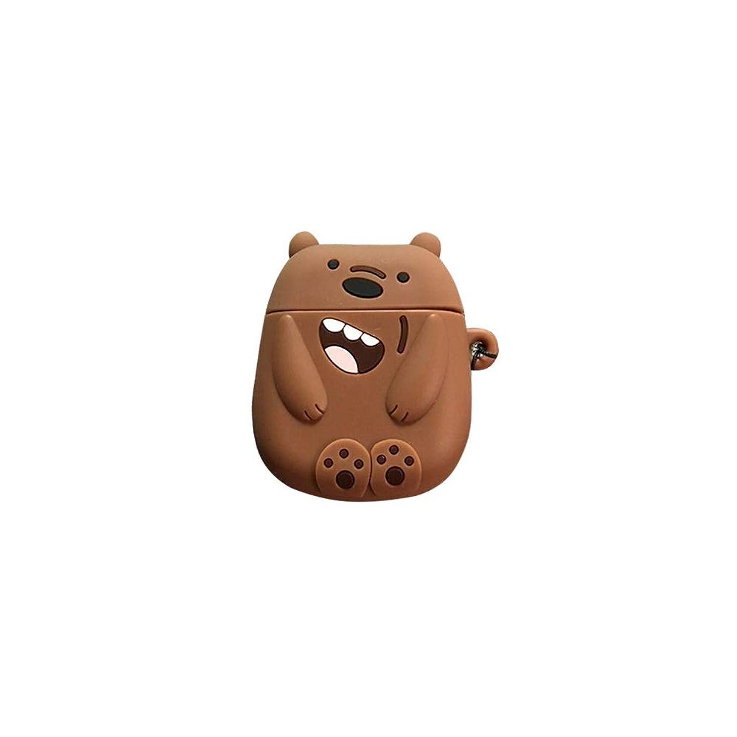 肘駅ブロンズHKXR 漫画かわいいくまAirpods保護カバー2世代シリコーンソフトシェルワイヤレスBluetoothヘッドセットのカップルボックス (Color : Brown)