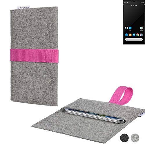 flat.design Handy Tasche Aveiro für Carbon 1 MKII handgefertig in Deutschland Sleeve Hülle Etui Filz hellgrau rosa