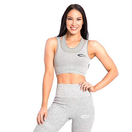 SMILODOX Seamless Sport BH Spine | Fitness-BH ohne Bügel | Starker Halt im Training - Bustier für Pilates Yoga Gym Fitness - Soft Büstenhalter - Sports Bra, Größe:XS, Farbe:Grau Melange