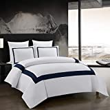 bedding w hotel - OSVINO 3 Pieces Microfiber Simple Line Style Duvet Cover and Pillow Shams Set Hotel Collection Ultra Soft Bedding Set with Zipper Closure, Navy, King