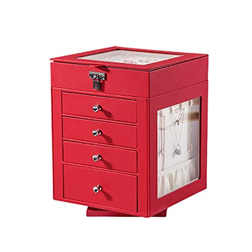 LJJ Cajonera giratoria de 5 capas tipo cajón tipo gran capacidad PU organizador de piel sintética para guardar joyas y relojes, color rojo