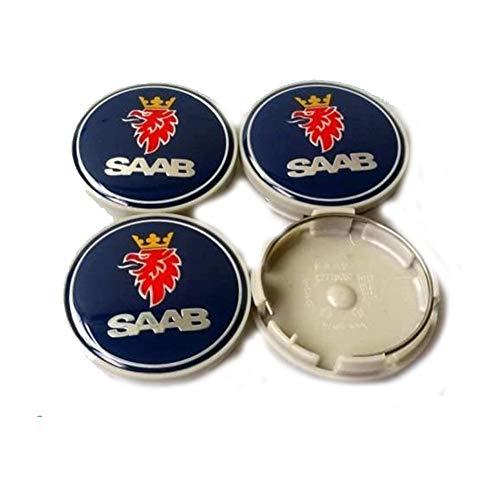 Juego de Tapas centrales de buje de 4 Ruedas, se Adapta a la mayoría de Las Llantas de aleación SAAB Originales y réplicas Que requieren tapacubos de 63 mm, Accesorios de Estilo de Coche