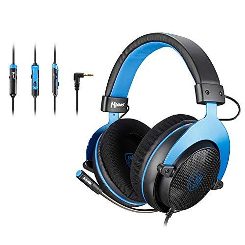 Sades MPOWER - Auriculares estéreo para PS4, PC, móvil, cancelación de Ruido, con micrófono retráctil y Flexible y Suaves Almohadillas de Memoria para Ordenadores portátiles, Nintendo Switch Games