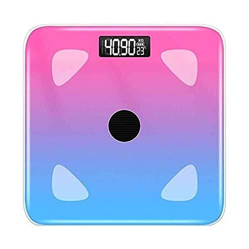 Qin Escalas de los Vigilantes del Peso por Glass Digital báscula de baño, Escala electrónica de Carga Ligera Ultrafina analizador de Grasa Corporal for medir el Peso