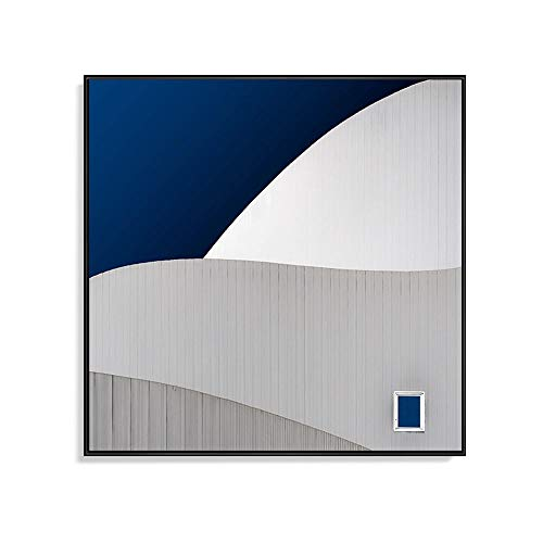 ZHQHYQHHX Moderner Minimalist quadratische Form Grau Weiß Blau geometrisches Muster Matte Paper Material Aluminium-Legierung Rahmen Dekorative Malerei Wohnzimmer Schlafzimmer Mauerfreske Dining Hängen