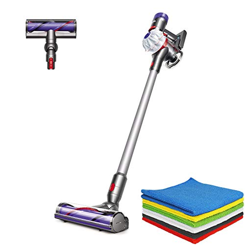 Dyson V7 Allergy Cordless HEPA Vacuum Stick Vacuum Cleaners| Lightweight, Powerful Suction for Versatile Cleaning| White + BROAGE Microfiber Cleaning Cloths