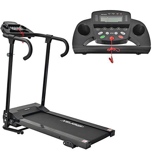 Merax Faltbares elektrisches Laufband, Laufmaschine für den Heimgebrauch, 1,0 PS Motor, 10 km/h Laufband, 12 Programme, Kompakt mit LCD-Display, Tablet-Halter
