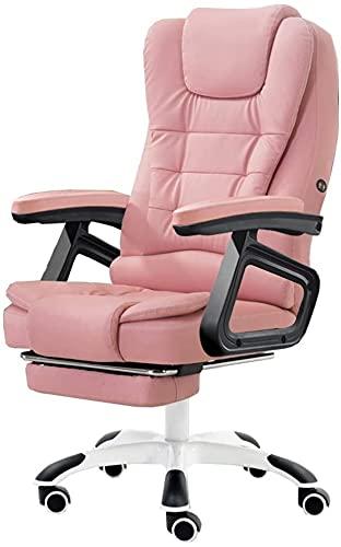 EPYFFJH Executive Recline Design ergonomico Massaggio Lombar Massaggio PU Computer Sedia da 155 ° Meccanismo di inclinazione con poggiapiedi Ascensore Poltrona Carico Carico 150 kg (Colore: Rosa)