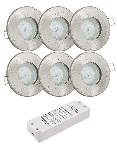 6er Set 12Volt Bad Einbaustrahler IP65 Farbe: Edelstahl gebürstet DC 12V 4,5Watt LED Leuchtmittel 380Lumen warmweiss + 33Watt LED Trafo - Leuchtmittel austauschbar