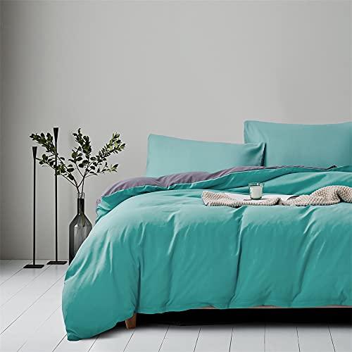 Gnomvaie Ropa de cama de 135 x 200 cm, color verde, gris, liso, reversible, juego de 2 piezas,...
