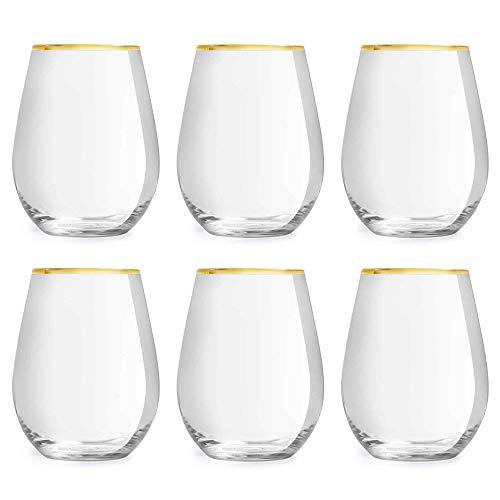 Libbey bicchiere da acqua Atlin - 350 ml / 35 cl - Set di 6 pezzi - Bordo Dorato - Classico - Per Feste
