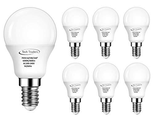 Tech Traders P45 - Bombilla LED de pelota de golf, E14, 5 W, color blanco frío, Paquete de 6