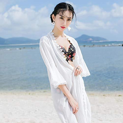 YYYH Jumpsuit voor dames, zonwering, lange kimono en haken, perspectief, kant, bloemenpatroon Eén maat 8