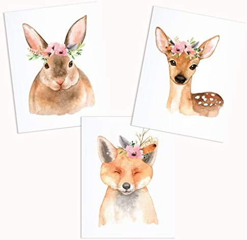 Woodland Creatures Nursery Wall Prints 3 UNFRAMED Baby Girl Bedroom Decor Fox Deer Rabbit Animal product image