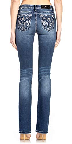Miss Me Feather Dust Bootcut Jeans Dark Blue