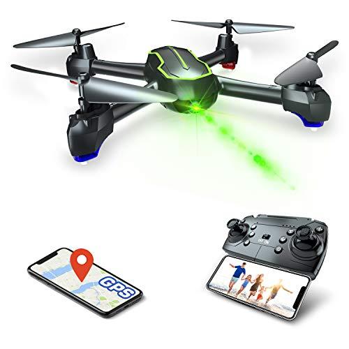 Asbww | Dron GPS con Cámara Full HD 1080p para Principiantes - Drone Cuadricóptero RC con Retorno Automático / Fotos y Vídeo HD 1080p / Transmisión en Tiempo Real FPV(Dos baterias)