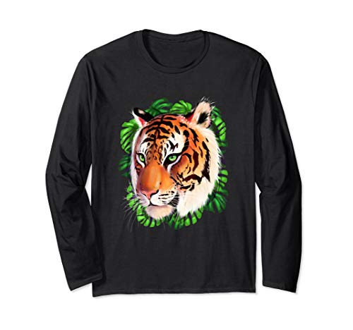 Fearless Bengal Tiger Face Wild Big Cat Long Sleeve T-Shirt