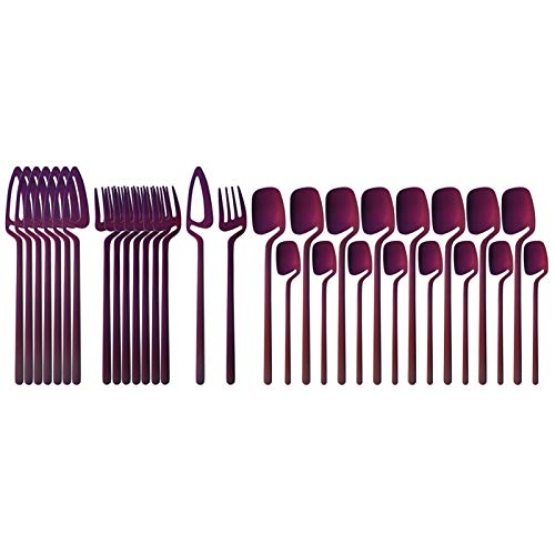 32 unids mate negro cubiertos conjunto cuchillo tenedor cuchara cena mesa vajilla 304 acero inoxidable vajilla barra banderas plateado cubiertos conjunto (Color : Purple)