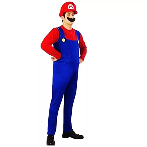 thematys Super Mario Luigi Cappello + Pantaloni + Barba - Costume per Adulti - Perfetto per Carnevale e Cosplay (Medium 165-175cm, Super Mario)