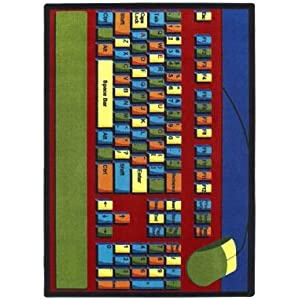 Joy Carpets Kid Essentials Early Childhood Oval Keyboard Connection Rug, Multicolored, 7'8″ x 10'9″