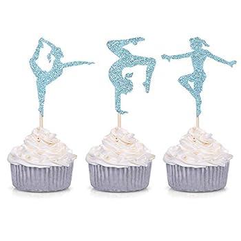 24 Blue Glitter Gymnastics Cupcake Toppers Gymnast Girl Birthday Party Gym Theme Decorations ¡