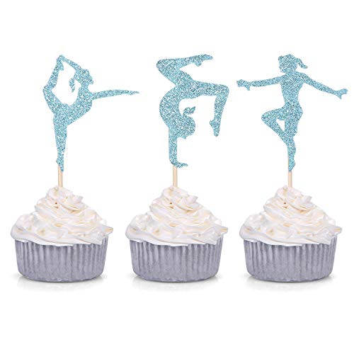 24 Blue Glitter Gymnastics Cupcake Toppers Gymnast Girl Birthday Party Gym Theme Decorations