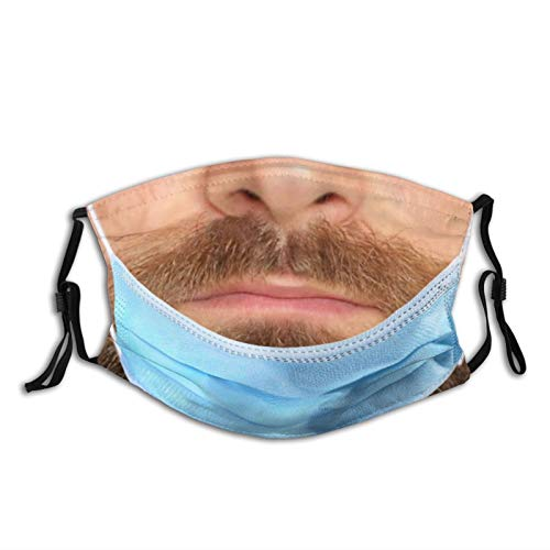 Humor Funny Bearded Man Face Mask Washable Reusable Balaclava Dustproof Fashion Scarves With 2 Pcs Filters For Unisex