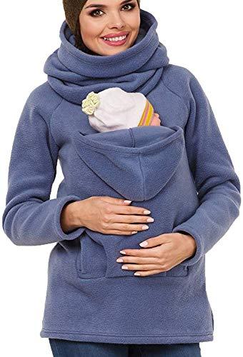 Winter Babytrage Damen Tragejacke für Mama und Baby Känguru Klassiker Daunenjacke Mit Kapuze Sweatshirt Mantel Mutterschaft Baumwolle Baby Carrier Jacke Schwarz