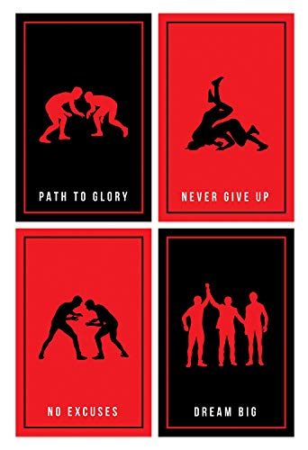 Damdekoli Wrestling Posters  11x17 Inches Silhouettes Set of 4 Red