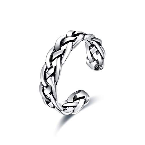 ONEFINITY 925 Sterting Silver Open Ring, Celtic Knot Adjustable Band Ring for Women/Men (Adjustable Ring B)