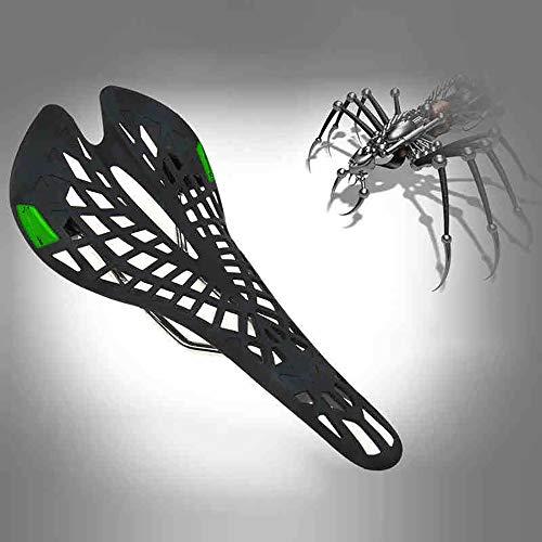 QXFJ SillíN De Bicicleta,Mountain Bike Road Bike Hollow Saddle CojíN Spider Light Death Flying Saddle Asiento Transpirable Y CóModo Que Absorbe Los Golpes 28 * 13.5cm