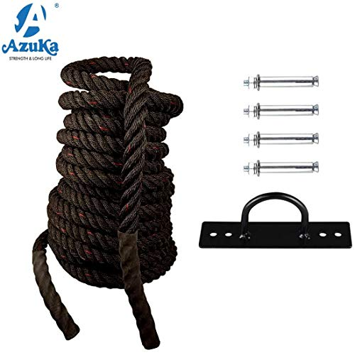 AZUKA® Battle Rope PP 1.5 in X 50 Ft (Black & RED) + Wall Mount with Free Surprise Poster Inside