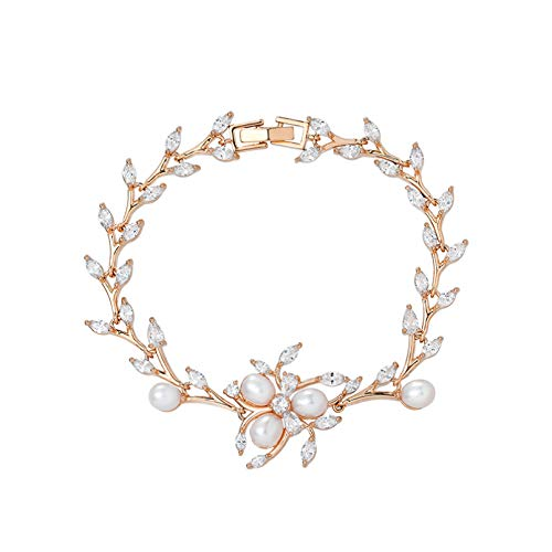 N Bracelet jewelry Exquisite Cubic Zirconia Crystal and Shell Pearl Plant Bridal Bracelets Valentines Day present