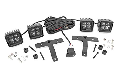 Rough Country Quad LED Lower Windshield Kit (fits) 2018-2020 Wrangler JL Gladiator JT | (4) 2