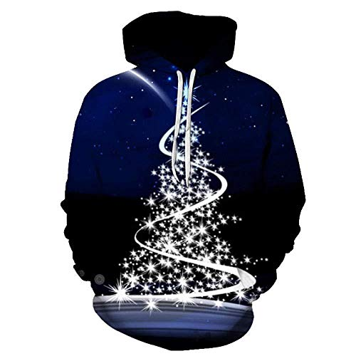 yyqx container Pulls Hoodies d'impression 3D Silver Christmas Tree Blue Streetwear avec Poches Avant Big Kangaroo-Color_3XL