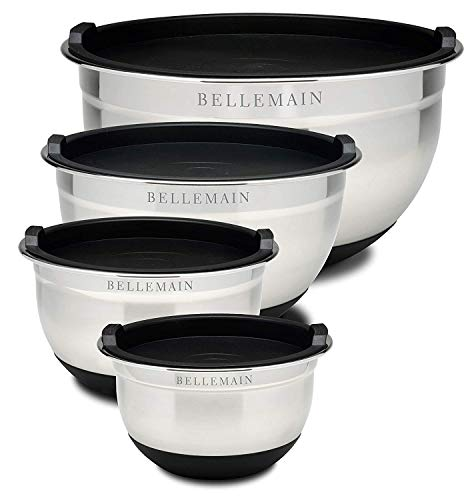 Bellemain Stainless Steel Non-Slip Mixing Bowls with Lids (4-Piece Set)