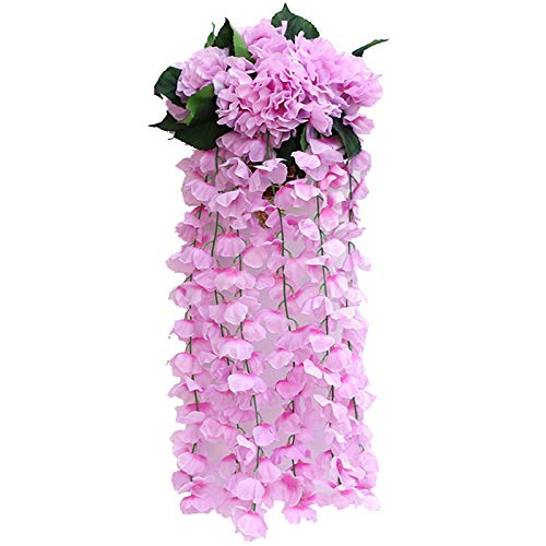 Muzi Artificial Flower Hydrangea Fake Flower in Vine Wall Hanging Rattan Plastic Hanging Orchid for Home Living Room Decoration (Purple)