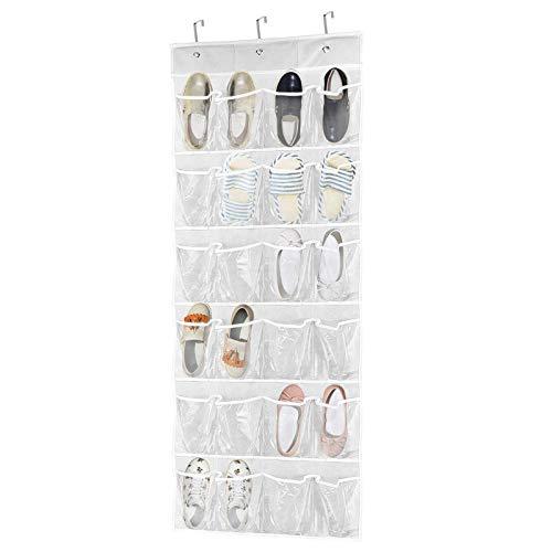 Portascarpe da Appendere 24 Tasche Scarpiera Dietro Porta Pieghevole, Porta Scarpe Organizer, Tasche Scarpiera da Portacon (Trasparente)