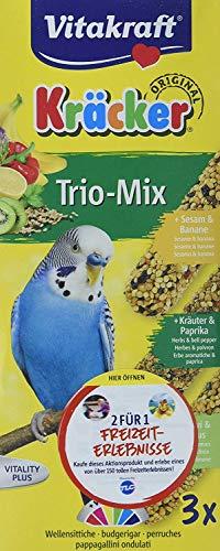 Vitakraft krukken Trio Mix 3-delig, Sittich Banaan kruiden Kiwi