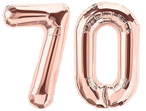 Folienballon Zahl 70 Rosa XL ca. 72 cm hoch - Zahlenballon/Luftballon rosegold für Geburtstagsparty, Jubiläum oder sonstige feierliche Anlässe (Nummer 70)