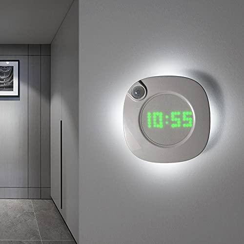 KAIFENGJUBIAN Reloj de Pared, Sensor Inteligente LED Reloj de Pared de luz con batería USB/AAA, Alimentado por batería, 2 Colores, luz de Noche, Reloj, baño, baño, baño, baño, habitación para niños.