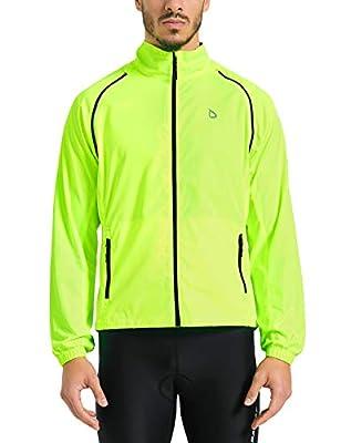Baleaf Men's Cycling Jacket Vest Windproof Water-Resistant Coat Breathable Outdoor Sportswear Fluorescent Yellow Size M