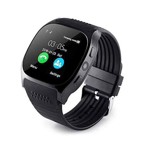 YASB 2020 Reloj Reloj Digital T8 Bluetooth Inteligente con Cámara De La Tarjeta SIM Facebook Whatsapp Apoyo TF Llamada Smartwatch para El Teléfono Android,Negro
