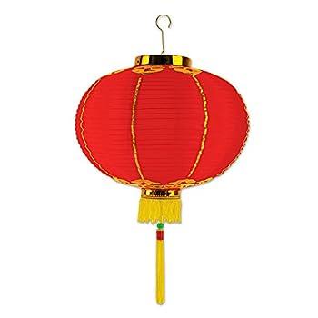 Beistle Good Luck Lantern with Tassel 12   Red/Yellow