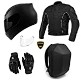 GDM Motorcycle Protective Gear Bundle - (Helmet, Jacket, Gloves, Backpack) Package Set (Large, Stealth Black)
