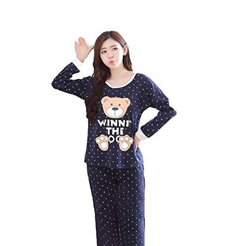 Greatangle-UK Primavera y otoño Nuevos Pijamas de Manga Larga Pantalones de Mujer Pijamas de Dibujos Animados Lindos Pijamas de Invierno para Mujer Conjunto de Huellas de Oso Azul 2XL