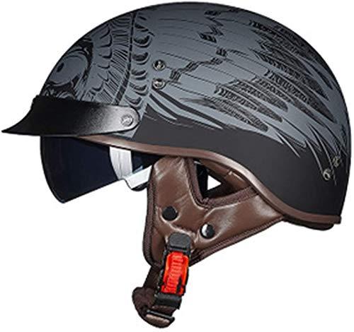 SJAPEX Casco Moto Jet Abierto Retro,Cascos de Motocicleta,Certificado ECE Medio Casco de Moto,Casco Abierto Vintage para Hombres y Mujeres Adultos. B,M=55~56cm