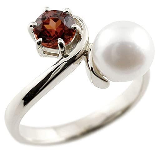 [アトラス]Atrus リング レディース 18金 ホワイトゴールドk18 ガーネット 真珠 フォーマル 指輪 ピンキーリング 宝石 22号