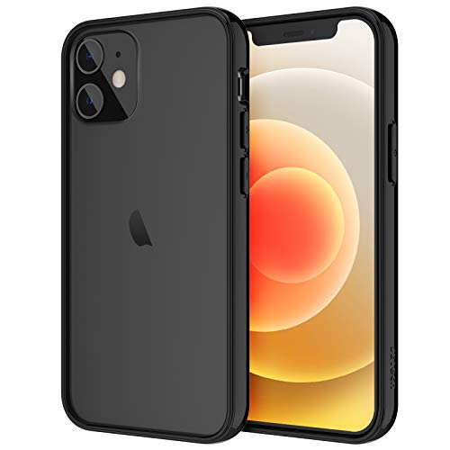 JETech Case for iPhone 12/12 Pro 6.1-Inch, Shockproof Bumper Cover, Anti-Scratch Clear Back, Black