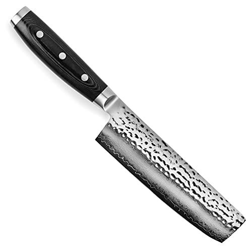 Enso Nakiri Knife - Made in Japan - HD Series - VG10 Hammered Damascus Japanese Stainless Steel -...